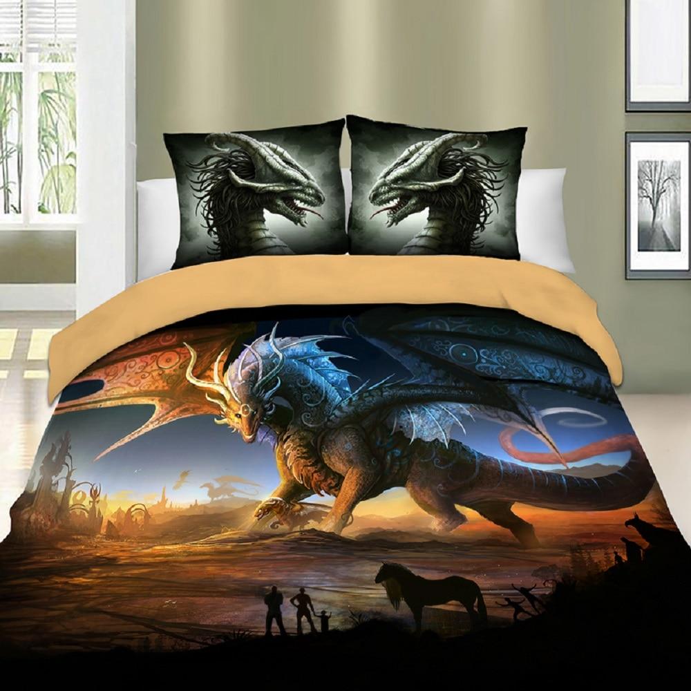 Dragon Bedding Set Twin Full Queen King Size Bed Linen Set 2/3pcs Animals Microfiber Duvet Cover Set with Pillow Sham Bedclothes