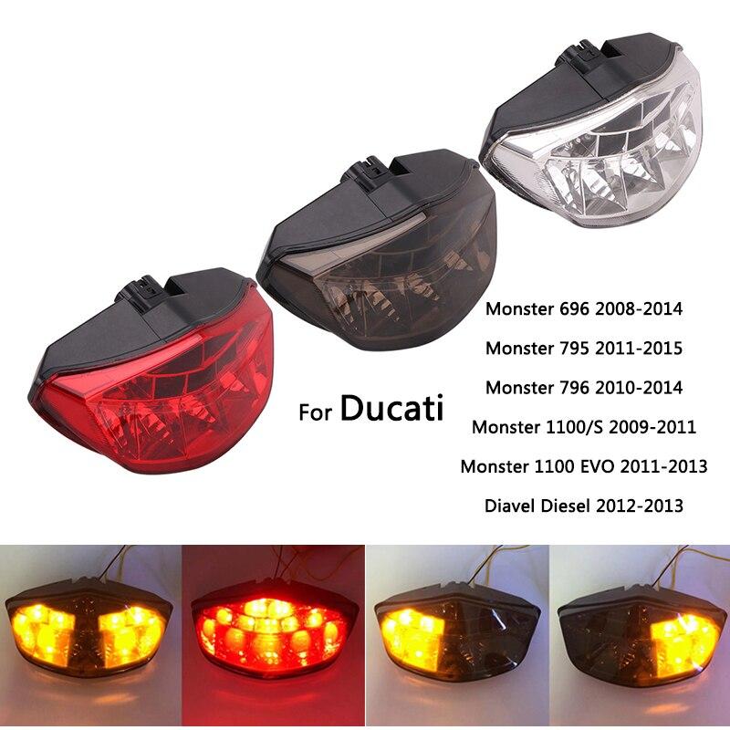 Lanterna traseira led para ducati monster 696 795 796 diesel 1100/s 1100 evo motocicleta lâmpadas de freio sinais de volta luzes plug-in