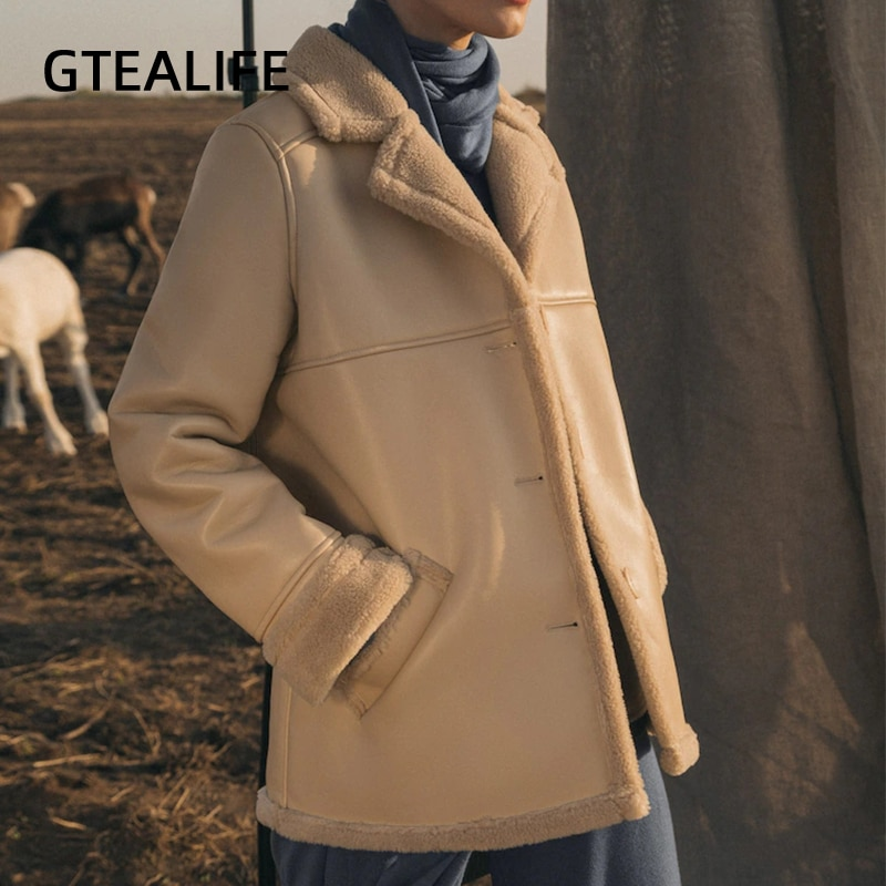 GTEALIFE الشتاء مكتب سيدة سميكة المخملية بولي Leather سترة جلدية للنساء الصلبة الجمل جيوب الشق طوق القص معاطف ملابس خارجية