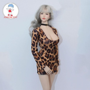 1/6 Female sexy Nightclub party Leopard print skirt low-cut bag hip tight dress for 12 Inch TBLeague Jiaou Dolls Action Figure