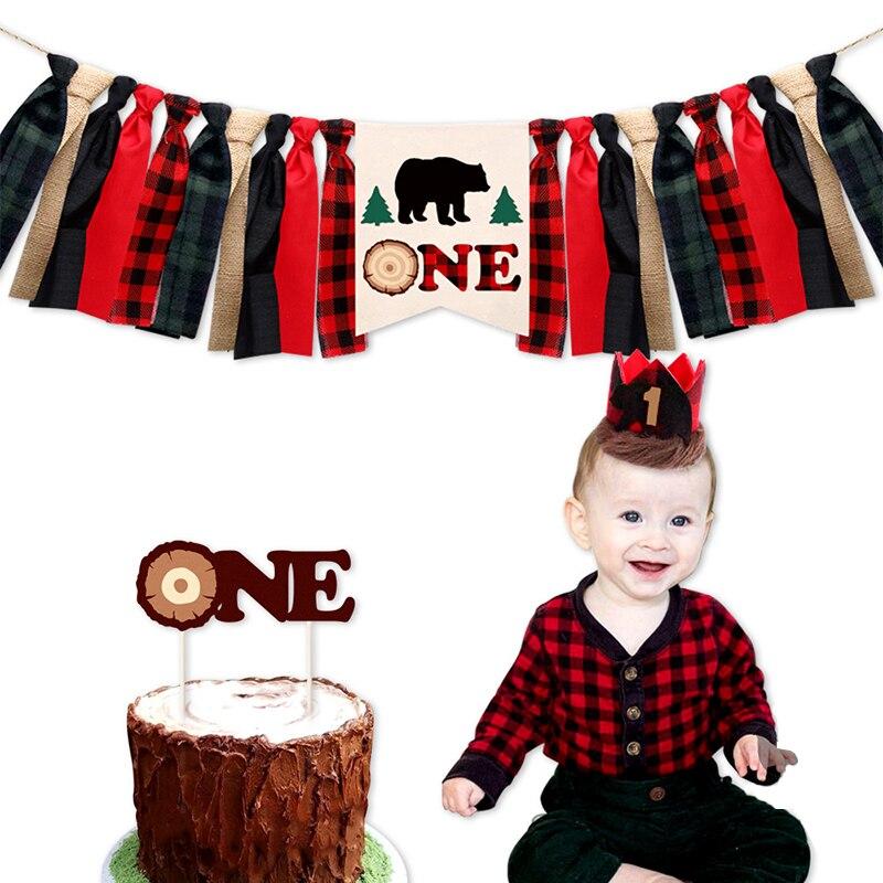 Maderero 1 er suministros de decoración para fiesta de cumpleaños Baby Shower Wild One Highchair Banner búfalo Plaid corona de niños sombrero pastel