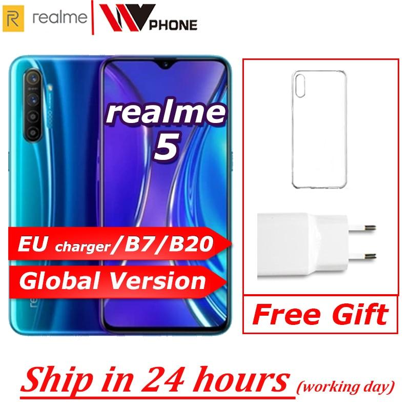 Перейти на Алиэкспресс и купить Realme 5 глобальная версия мобильного телефона 6,5 ''полный экран Snapdragon 665 AIE Quad камера PowerHero мобильный телефон