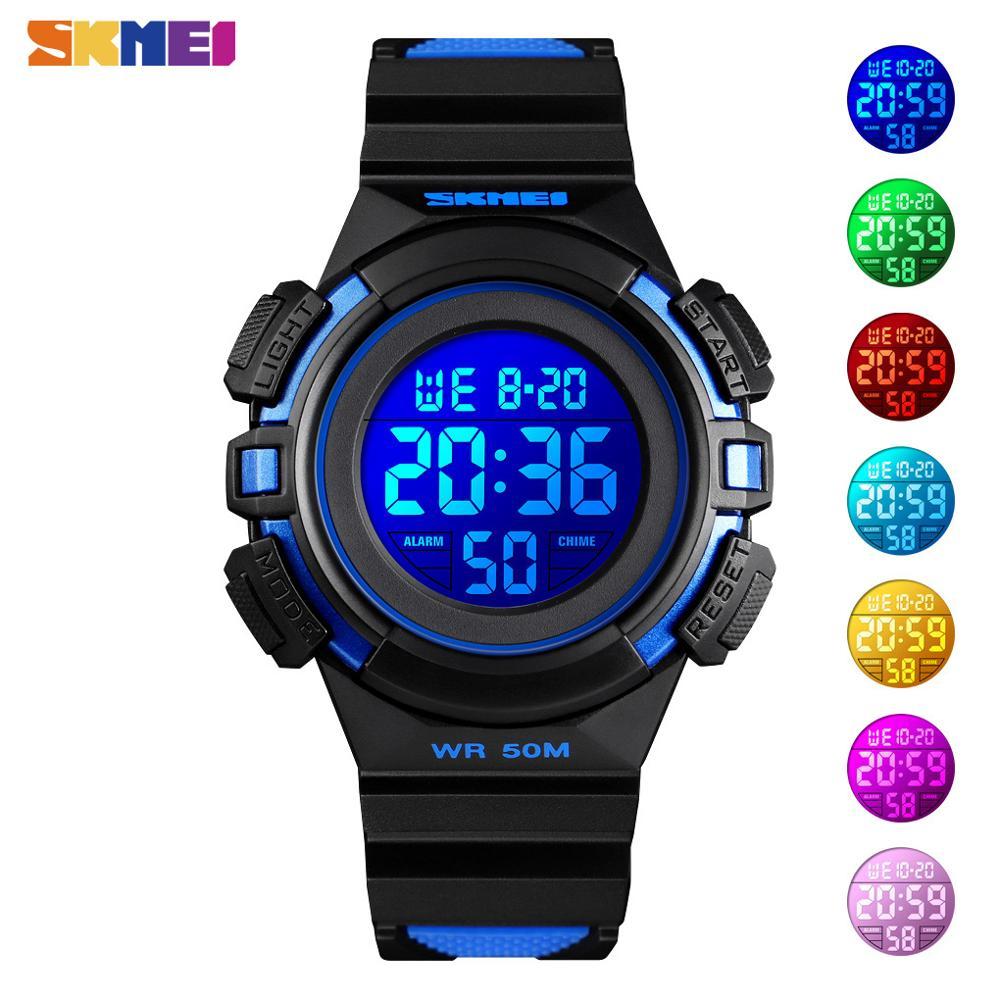 SKMEI Kids Watches Sport Waterproof PU Leather Colorful Display Children Wristwatch 12/24 Hour Boy Clock relogio infantil 2021