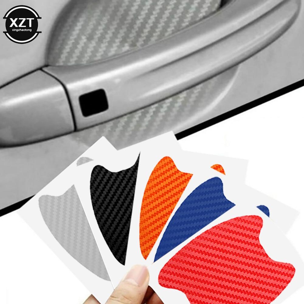4pcs lot car handle protection film car exterior transparent sticker fit for automotive paint scratch guard 4Pcs/Set Car Door Sticker Carbon Fiber Scratches Resistant Cover Auto Handle Protection Film Exterior Styling Accessories