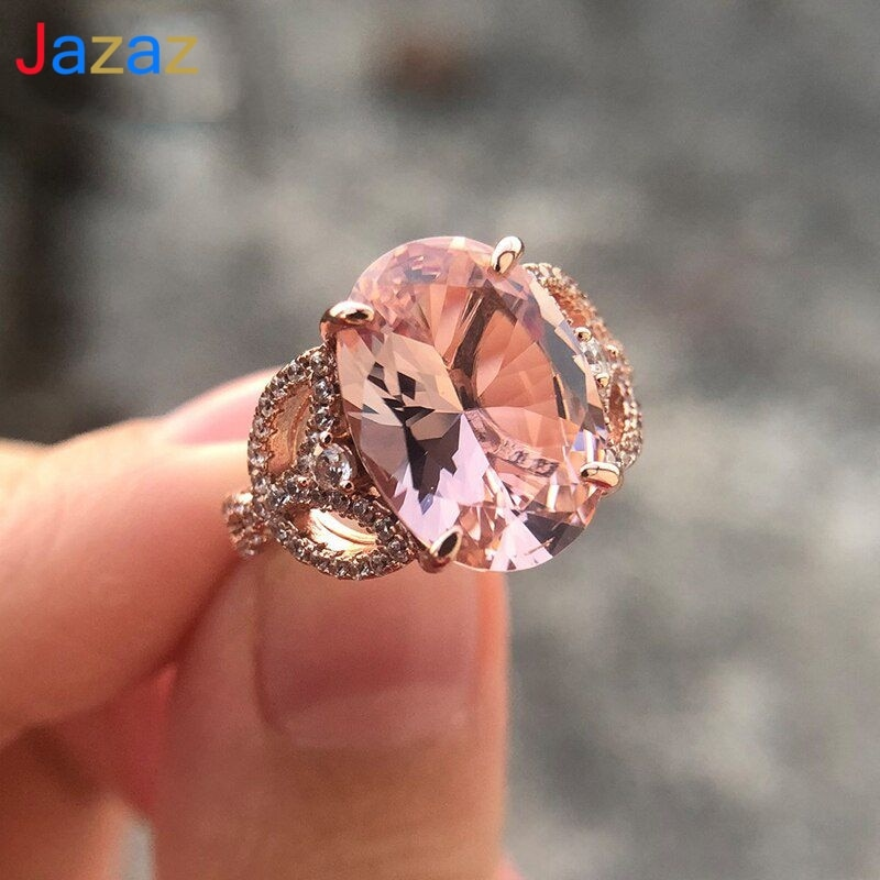 Jazaz Luxury AAAAA Oval Zircon 925 Sterling silver wedding ring Women Lady Top quality Rose gold color Spark CZ Engagement B0638