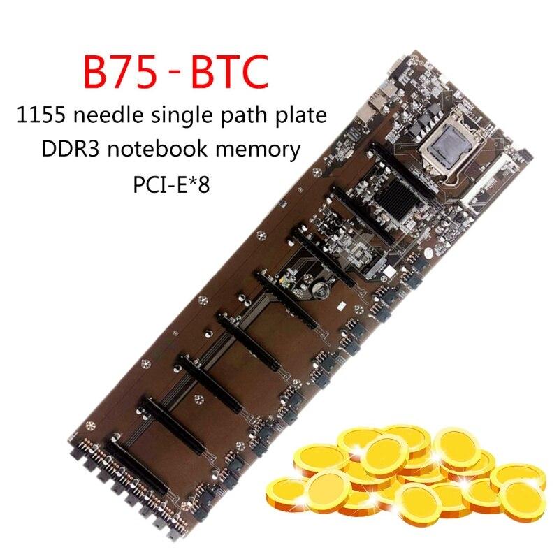 جديد التعدين BTC B75-BTC 8PCI-E سطح اللوحة B75 LGA 1155 DDR3 16G SATA3 USB3.0 ATX BTC T84C