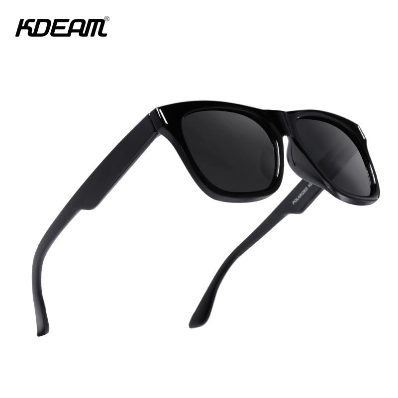 KDEAM Lightweight Square Sunglasses Men Polarized Glossy Black Frame Zipper Case Included Cat.3 CE