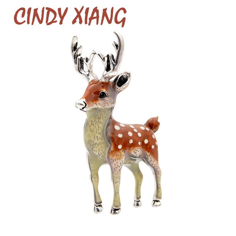 CINDY XIANG 3 Farben Erhältlich Nette Kleine Deer Broschen für Frauen Dollar Sika Deer Tier Brosche Pin Mantel Zubehör Kinder geschenk