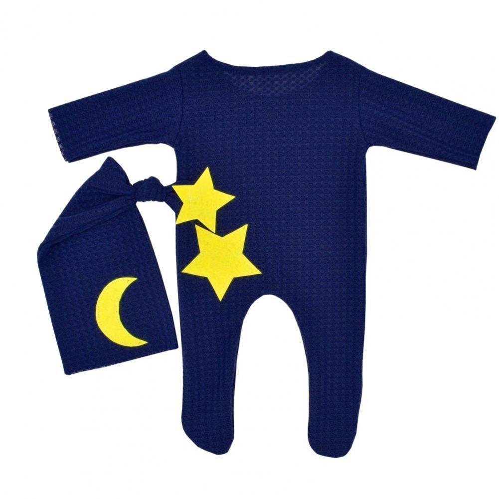 2 шт./компл. Детский комбинезон с рисунком, декоративные фото аксессуары, трикотажное полотно, боди для новорожденных, шапка, костюм для фото...