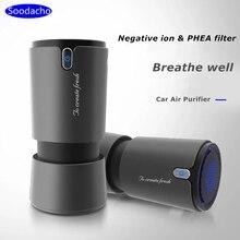 Soodacho автомобильный очиститель воздуха, фильтр Hepa с отрицательными ионами, портативный мини USB дизайн ионизатор дыма, автомобильный парфюмерный освежитель воздуха для автомобиля