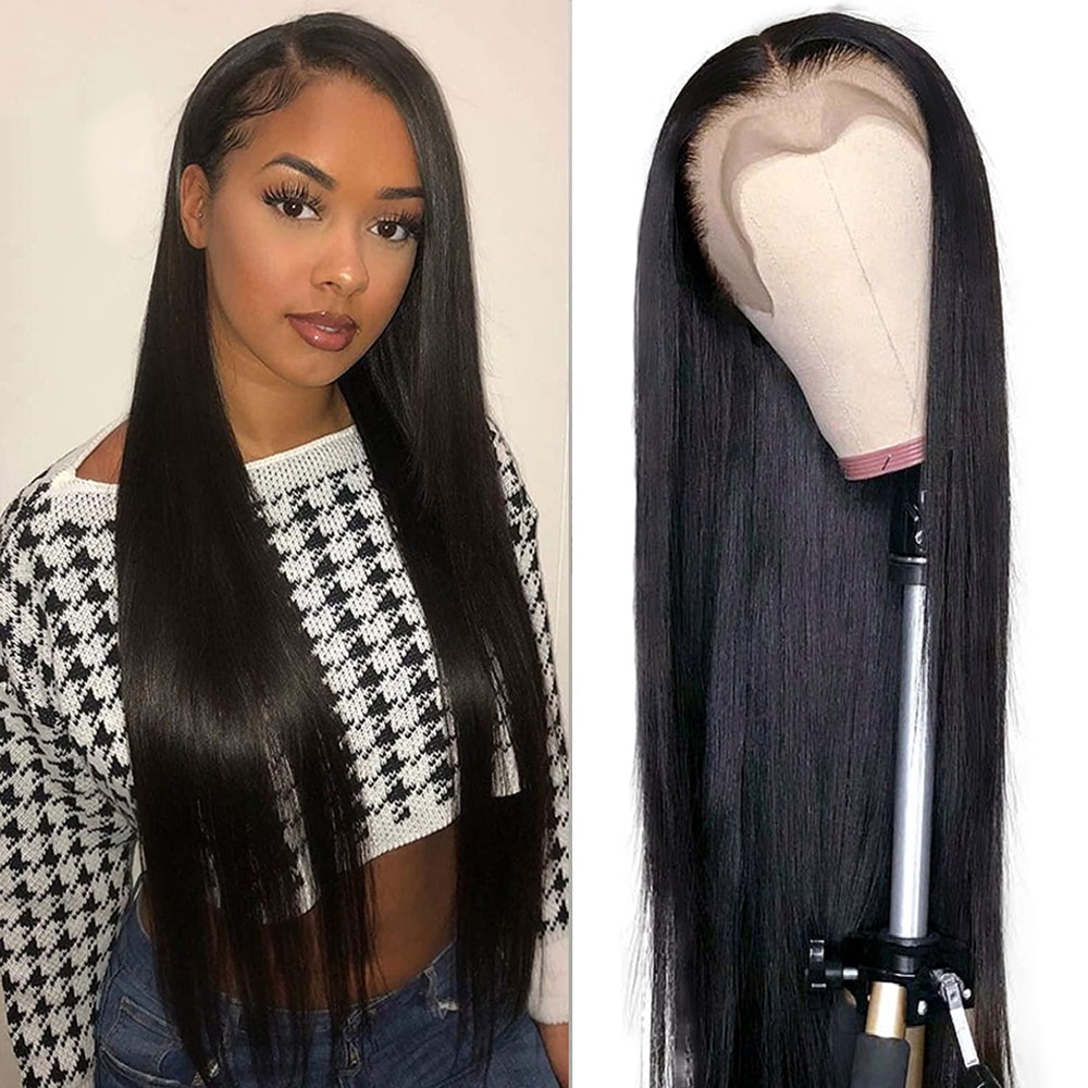 13x6 HD Transparent Lace Frontal Human Hair Wigs Bone Straight 13x4 Lace Front Wig 32 34Inch Brazili