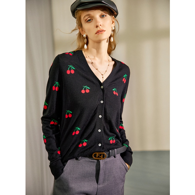 Cardigan Women 100% Wool Knitted Cherry Embroidery V Neck Long Sleeves 2 Colors Casual Style Thin Jacket New Fashion