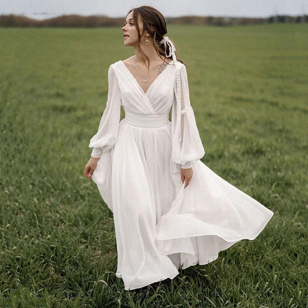 فستان زفاف شيفون بطيات ، رخيص ، ياقة على شكل v ، أكمام طويلة ، رسن ، خط a ، فساتين زفاف Novia Do 2021 فيستدوس