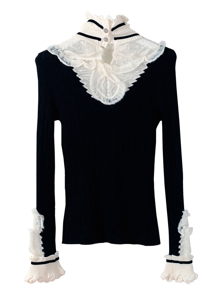 Turtleneck Sweaters 2021 Autumn Winter Fashion Tops Women Black White Color Block Knititng Long Sleeve Casual Pullovers Ladies enlarge