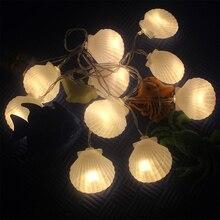 Nueva llegada concha de mar LED cadena luz Navidad árbol fiesta BBQ boda guirnalda vacaciones foto DIY accesorios decoración del hogar cumpleaños regalo