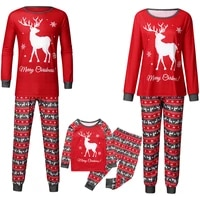christmas pajamas set family matching outfits xmas deer father mother kids sleepwear mommy and me clothes xmas pjs topspants