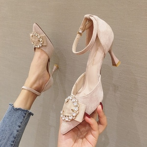 2020 Spring Summer New Women's Suede High Heels Fashion Lady Sexy Rhinestones Stiletto Dress Pumps Party Wedding Working Shoes