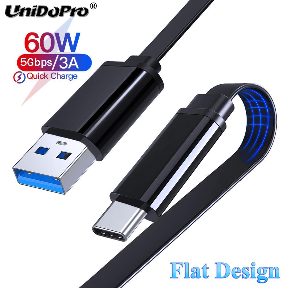 USB 3,0 3A plana tipo C cargador de Cable de datos para...