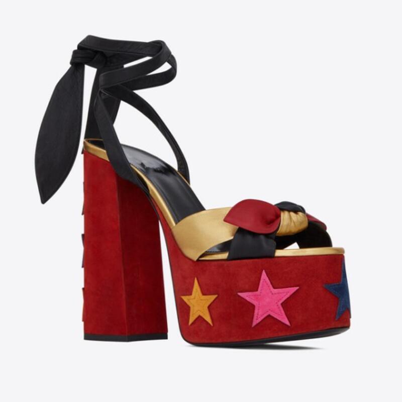 جديد الطباعة المرأة الصنادل عالية Platfrom حذاء بكعب سميك أحذية الصيف اللمحة تو حذاء كعب عالى ذو رباط حول الكاحل أحذية الحفلات Sandalia