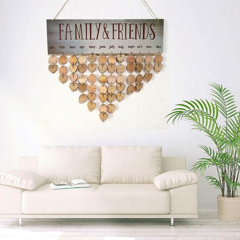 Tablero para calendario de cumpleaños de madera DIY, para familia y amigos, cartel de cumpleaños, tabla planificadora de fecha especial para regalo de decoración colgante del hogar