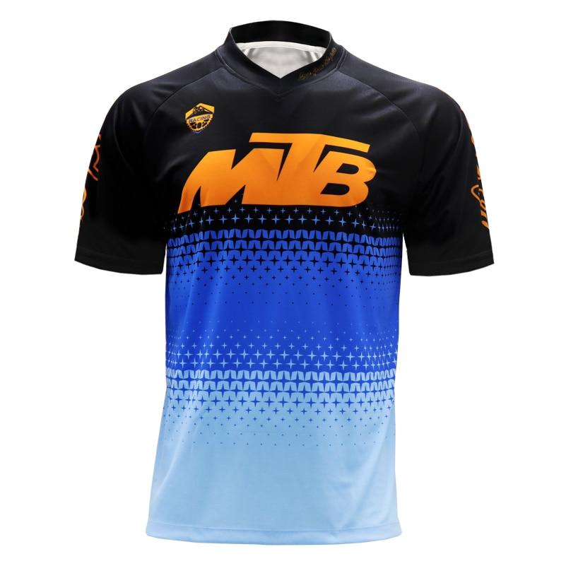 Blue MTB T-shirt enduro motorcycle motocross racer jersey motorbike clothing GP bmx shirts dirt bike jersey downhill moto tops