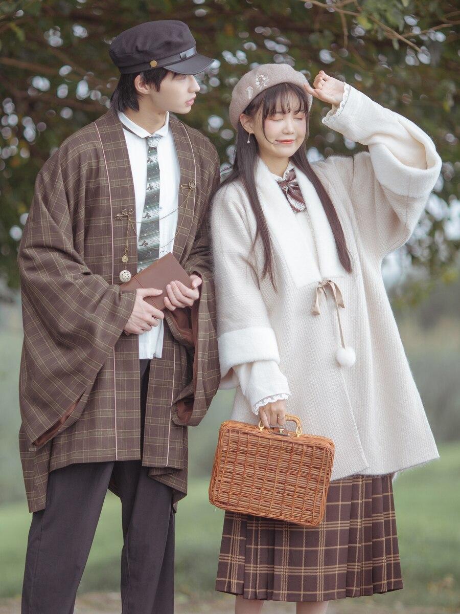 Одежда Ming Han, зимний воротник, рукав до локтя, бархатная накидка, юбка с узкими рукавами