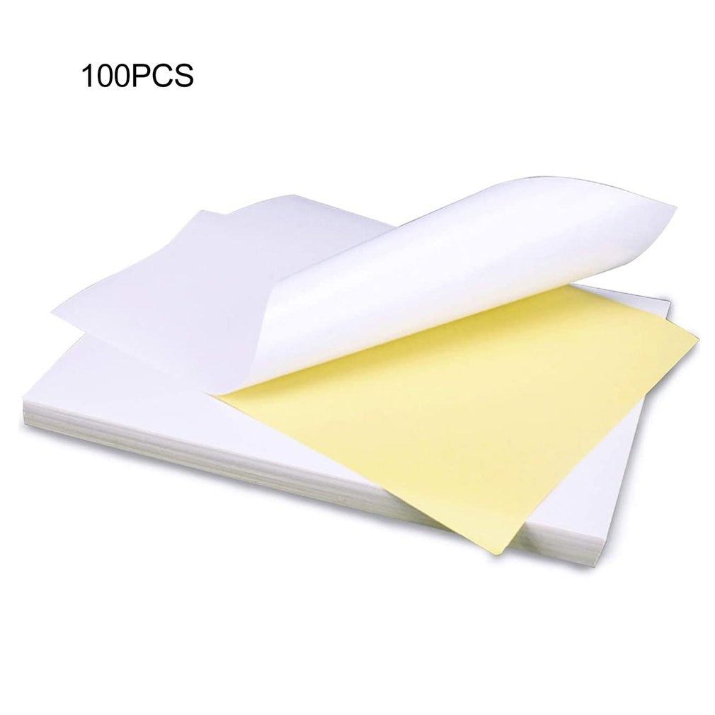 100sheets/Lot A4 Glossy Kraft Adhesive Sticker for Laser Inkjet Printer Copier Craft Paper Self Adhesive Sticker Label