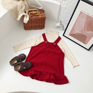 WLG Girls Dress Kids Clothes Spring Autumn Corduroy Red Strap Beautiful Princess Dresses Baby Girl Cute Clothes