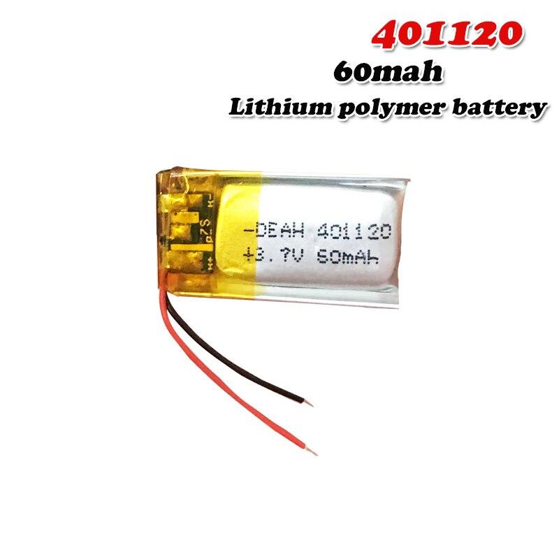 Bateria recarregável do polímero mp3 da vara do polímero de selfie dos vidros 3d para o fone de ouvido de bluetooth do lítio de 60mah 3.7v 401120 li-po