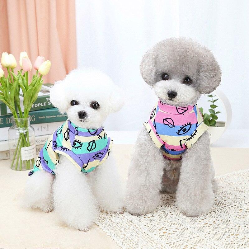 Camiseta a rayas con Graffiti para mascotas, ropa para perros pequeños y...