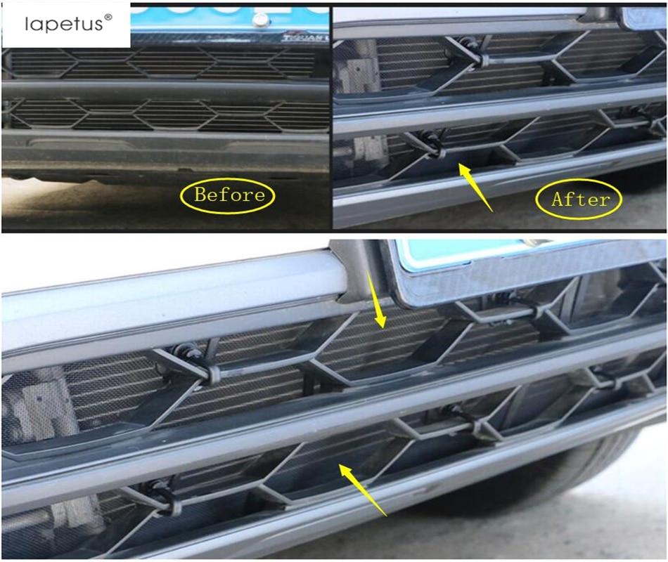 Lapetus acessórios apto para volkswagen vw tiguan 2016 - 2020 cabeça dianteira grille inserção net triagem malha moldagem capa kit guarnição