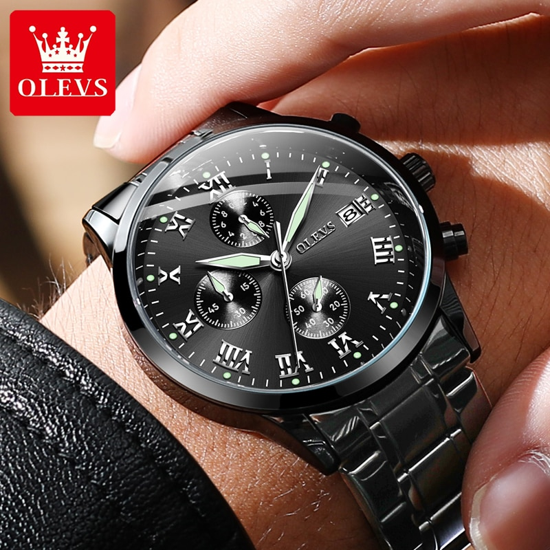 OLEVS Chronograph Men's Watches Waterproof Calendar Stainless Steel Man Watch Luxury Quartz Wrist Wa