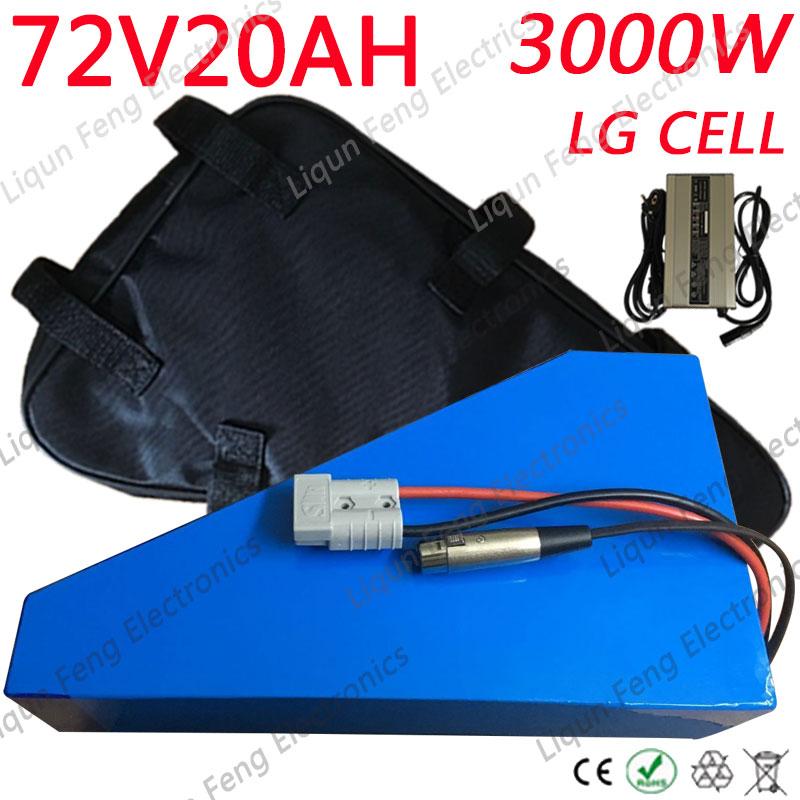Paquete de batería triangular 72V 20ah batería de iones de litio 72v 3000w batería de bicicleta eléctrica uso LG celular con 50A BMS y 84 v Charrger