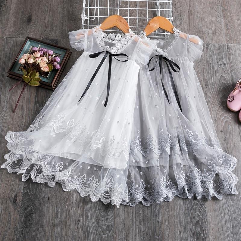 Vestido bordado de flores para niñas 2020, vestido de baile de encaje de princesa de verano, vestidos infantiles para niñas, ropa informal para niñas 3 5 8T
