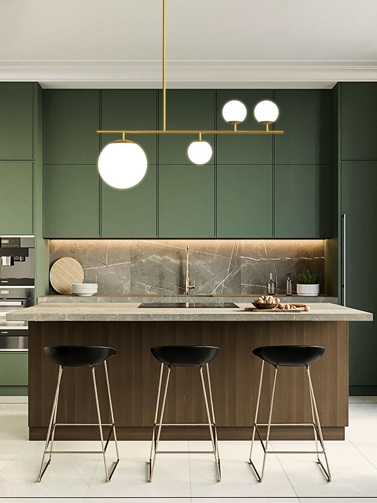 البساطة الحديثة LED أضواء الثريا الشمال الأسود/الذهبي ديكور مطبخ مصابيح غرفة الطعام جزيرة مصابيح تعليق للزينة