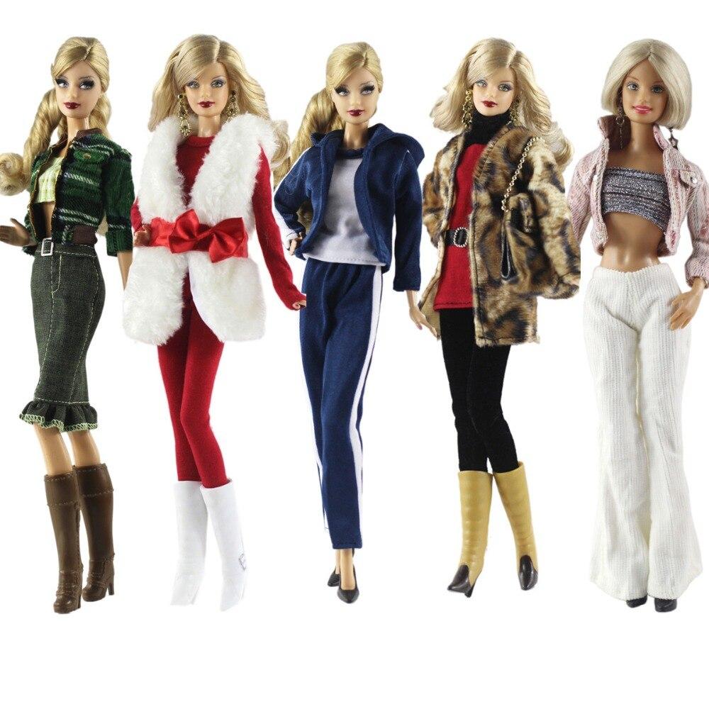 2019 nuevo conjunto de ropa de invierno abrigo de peluche traje suéter falda traje ropa para 1/6 BJD Xinyi Barbie FR ST muñeca regalo
