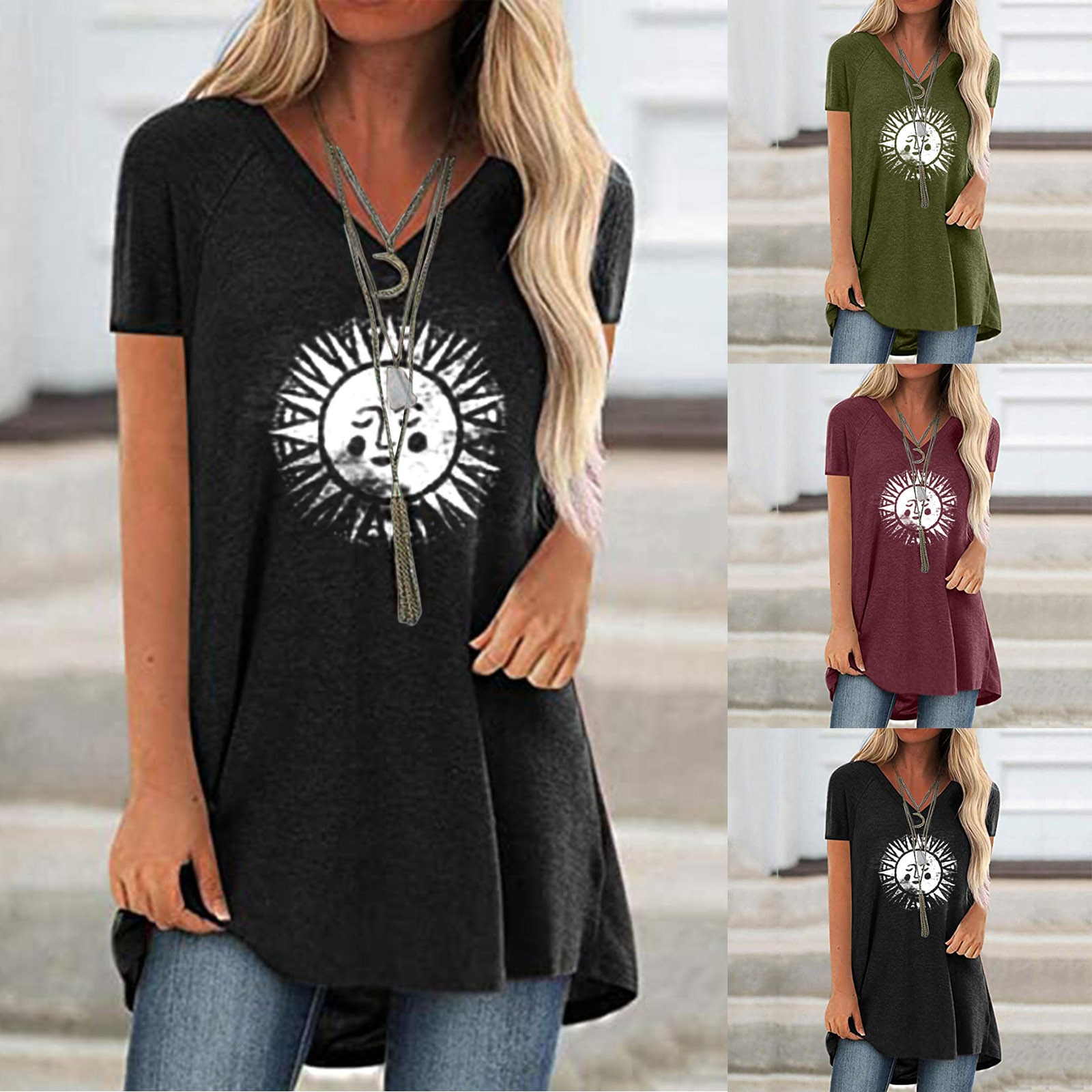 De las mujeres de la moda sol 3D camiseta de talla grande...