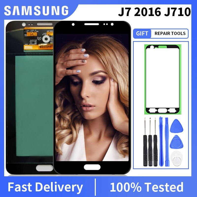 100% getestet OLED Für Samsung Galaxy J7 2016 J710 SM-J710F J710M J710H J710FN Display Touchscreen Digitizer Montage
