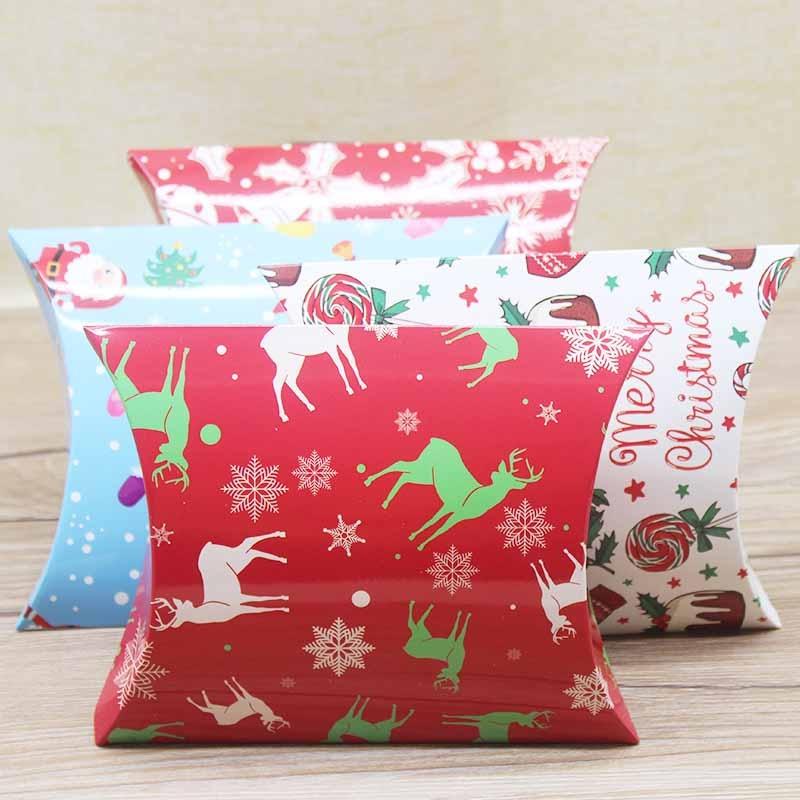 Doces dos desenhos animados cozimento embalagem coelho pinguim urso branco fawn 4 natal bonito dos desenhos animados travesseiro caixa biscoitos nougat caixas de doces