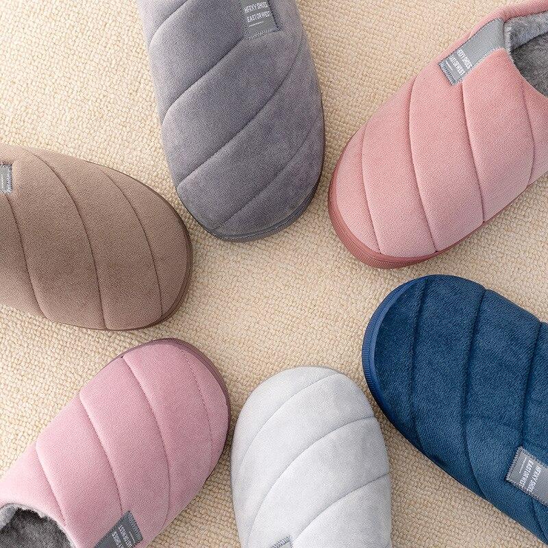 Тапочки женские и мужские для пар, женские зимние тапочки, удобная домашняя обувь, мужские плюшевые тапочки в полоску, обувь