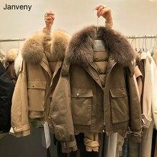 Janveny Real Fox Fur Women's Down Jacket 2021 Short Loose 90% White Duck Down Coat Fashion Female Bi
