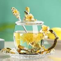 hand made enamel mug lily flower glass cup coffee mug scented tea mug milk lemon juice cup glass lover gift couple mugs