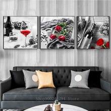 3 pièces ensembles cuisine Vintage vin rose bricolage diamant peinture plein diamant broderie strass kit triptyque noir rouge art FF513