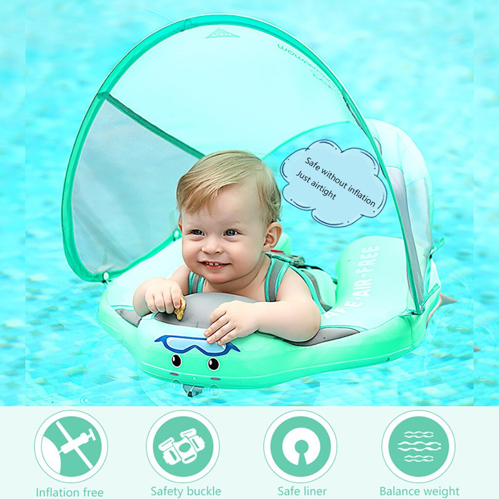 Anillo flotador de natación para bebé, entrenador de nado, parasol no inflable para niños, juguetes de piscina tumbada, accesorios de piscina