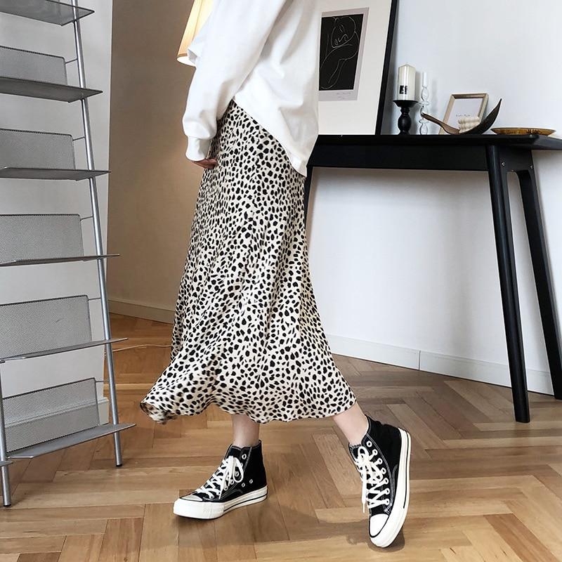 sequined high low hem fish tail skirt Satin Leopard-print Skirt Female 2020 High Waist Hip-covered Fish Tail A- Line Skirt