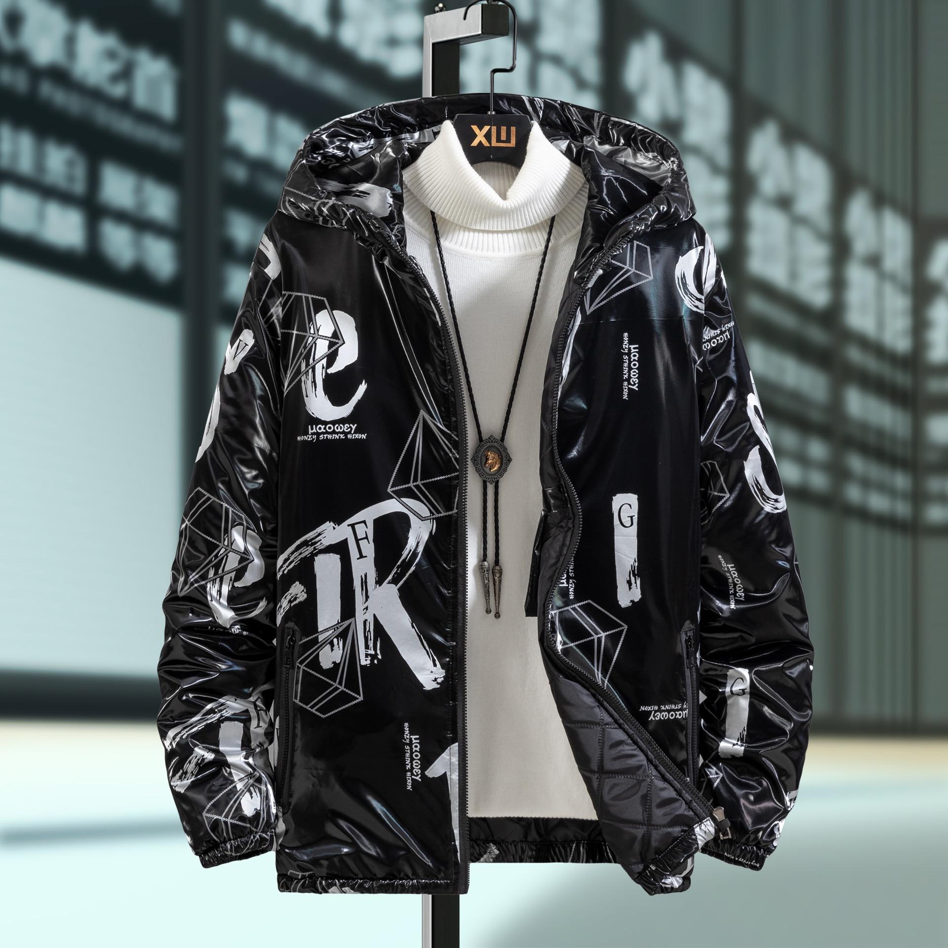 Ветрозащитная теплая Студенческая куртка, Молодежный пуховик из хлопка, новая зимняя Глянцевая Водонепроницаемая Мужская куртка с капюшон...