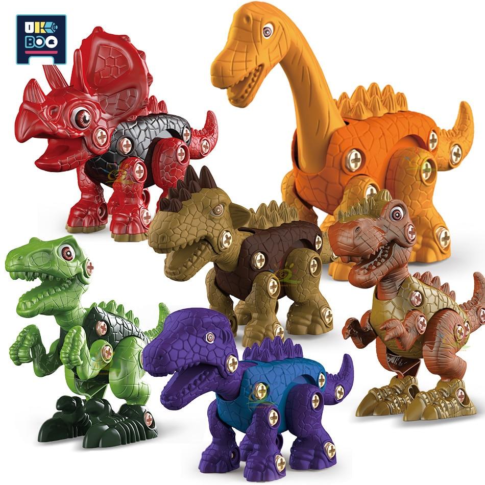 UKBOO City DIY Screw Nut Disassembly Assembly Dinosaur Building Blocks Cartoon Animal Early Learning Education Toys for Children