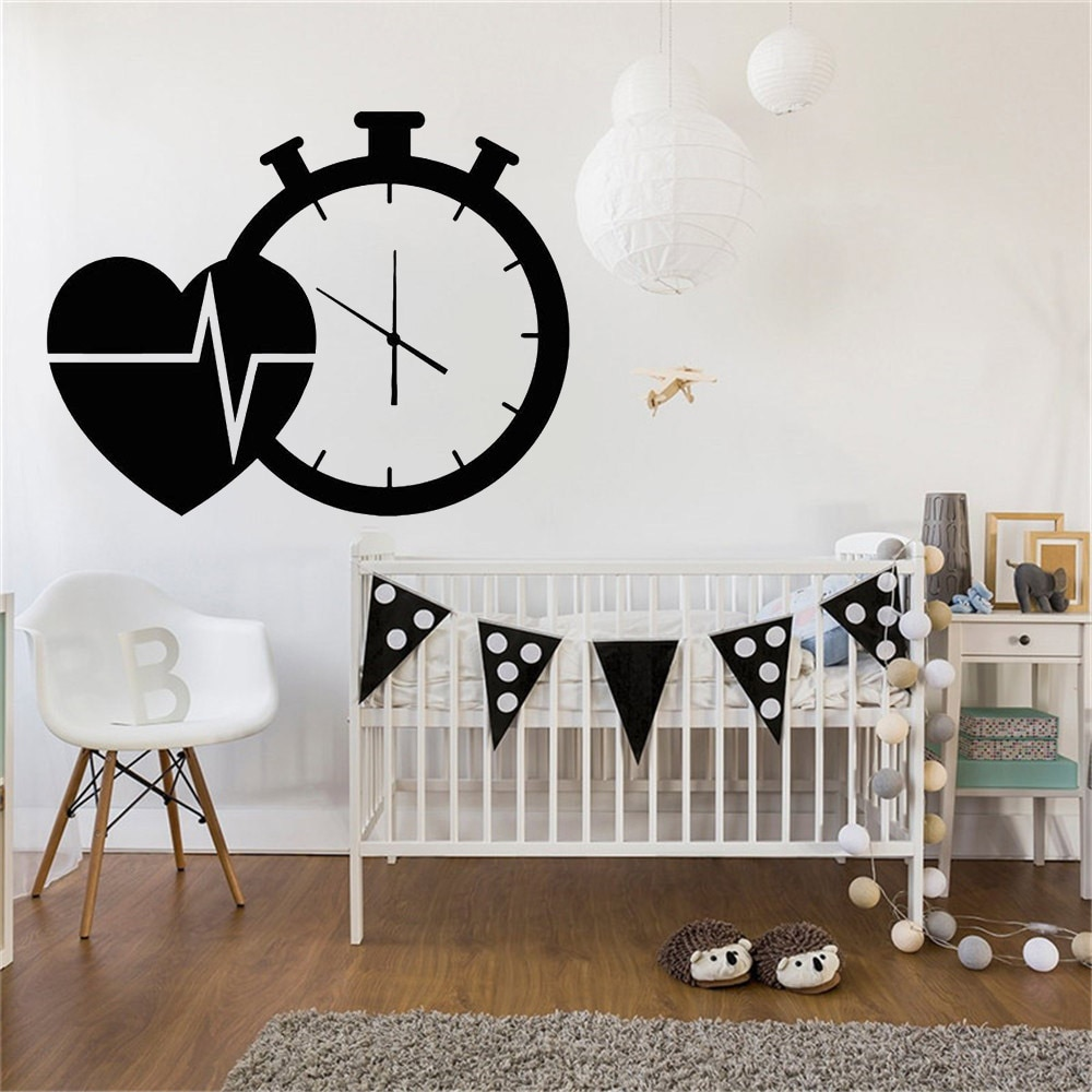 Heart Cardio Clock Vinyl Wall Decal Hospital Health Medicine Wall Sticker for Living Room Bedroom Decor Accessories Art