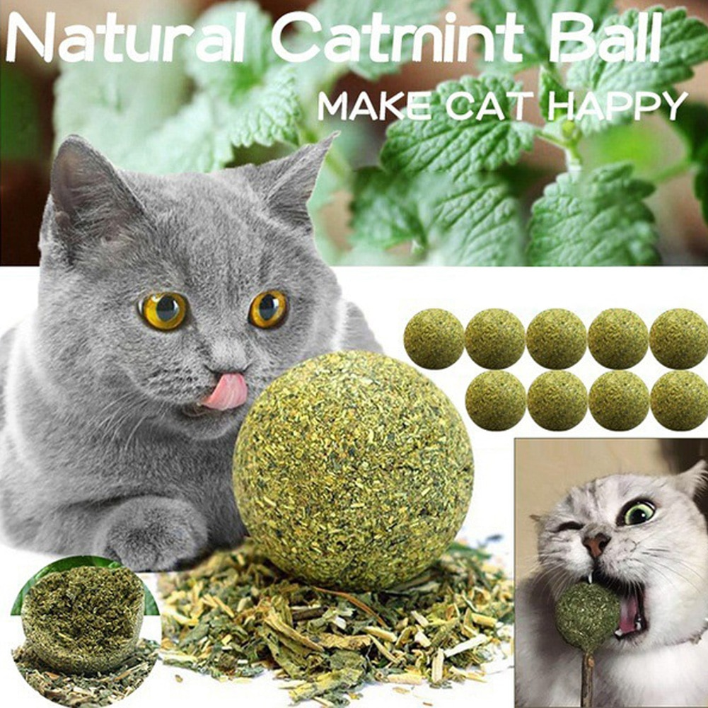 Pet Catnip Toys Edible Catnip Ball Safety Healthy Cat Mint Cats Home Chasing Game Toy Products Clean Teeth The Stomach
