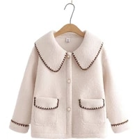 autumn winter women outerwear lamb wool plus velvet thick casual retro loose coat pockets single breasted pink outerwear 209762